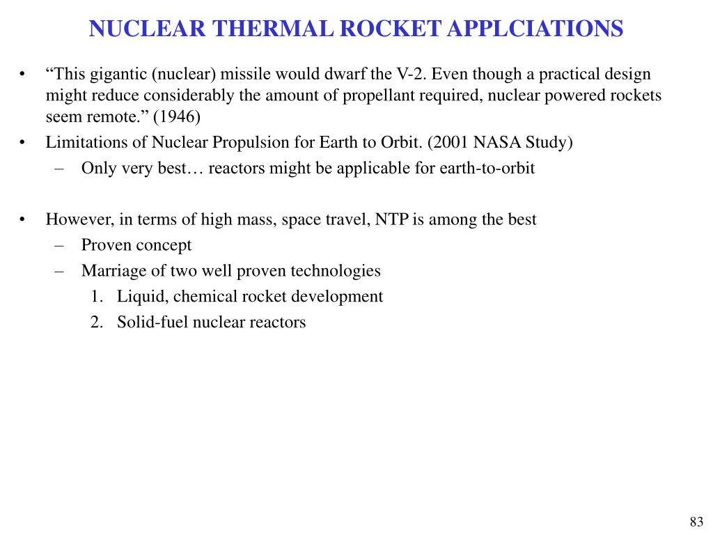 NUCLEAR THERMAL ROCKET APPLCIATIONS