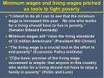 minimum wages and living wages pitched as tools to fight poverty