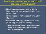 results reveal the good and bad aspects of living wages