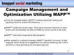 campaign management and optimization utilizing mapp
