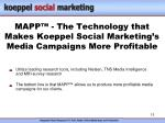 mapp the technology that makes koeppel social marketing s media campaigns more profitable