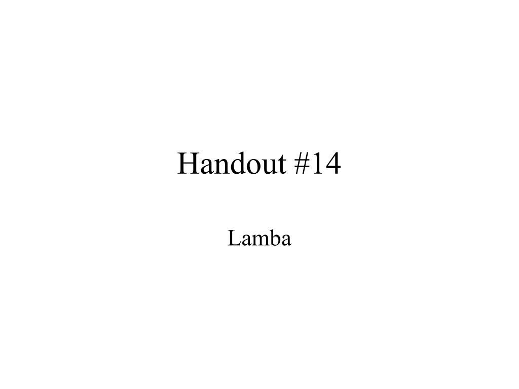 handout 14 l.