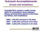 outreach accomplishments people with disabilities