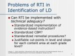 problems of rti in identification of ld9