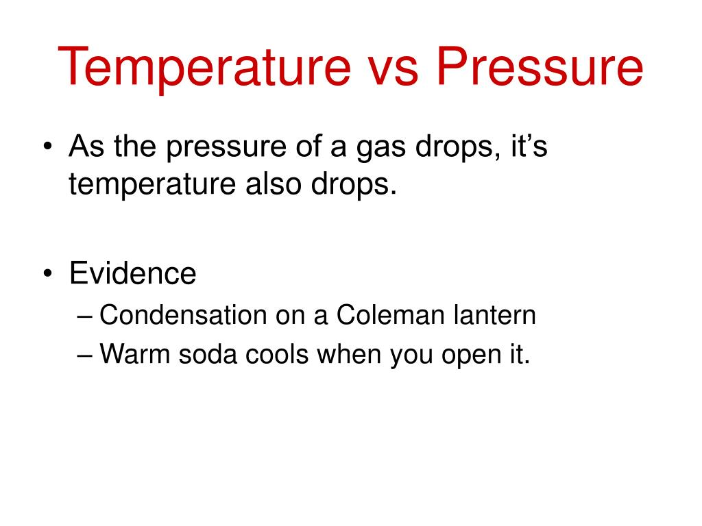 Temperature vs Pressure