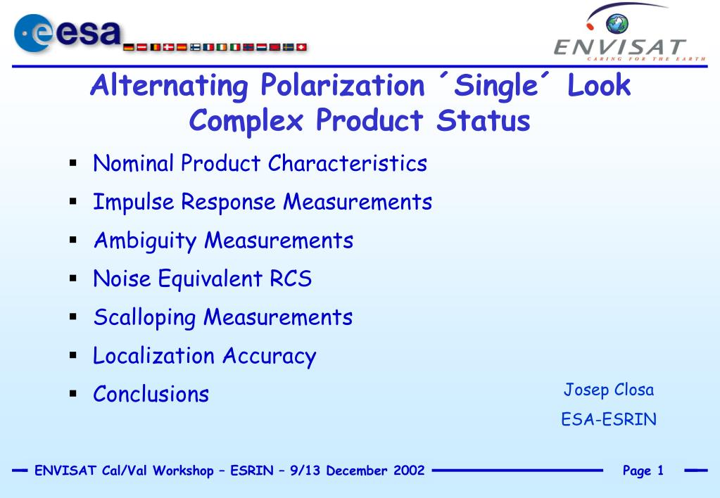 alternating polarization single look complex product status l.