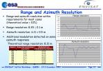 range and azimuth resolution