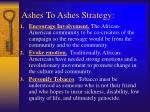 ashes to ashes strategy
