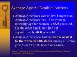 average age at death in arizona
