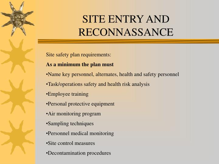 SITE ENTRY AND RECONNASSANCE
