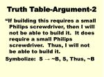 truth table argument 2