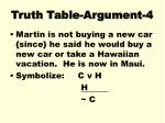 truth table argument 4