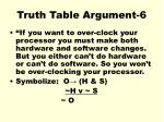 truth table argument 6