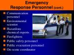 emergency response personnel cont