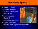 preventing spills cont