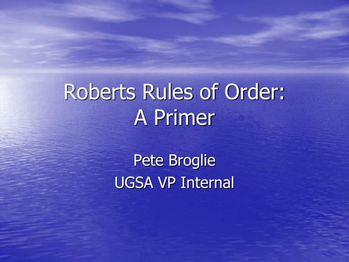 roberts rules of order a primer n.