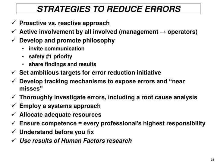STRATEGIES TO REDUCE ERRORS