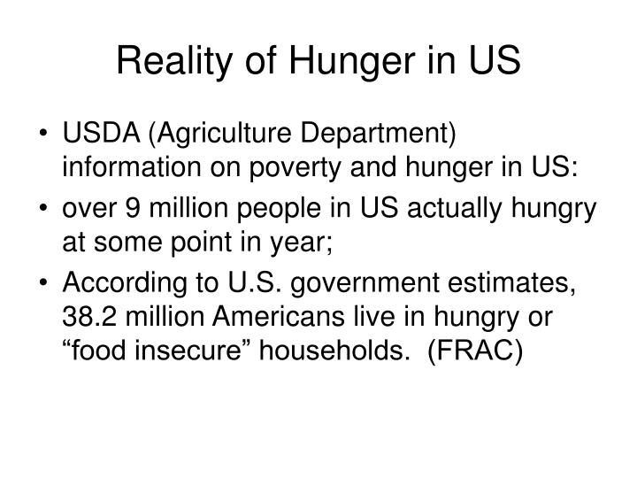 Reality of Hunger in US