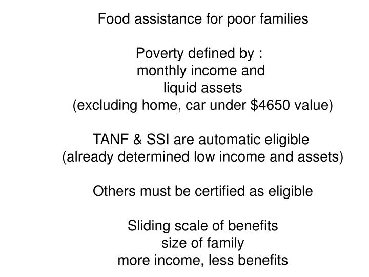 Food assistance for poor families