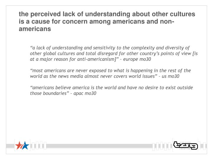 the perceived lack of understanding about other cultures is a cause for concern among americans and non-americans