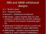 aba and abab withdrawal designs