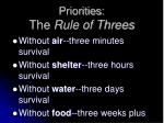 priorities the rule of threes