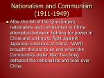 nationalism and communism 1911 1949