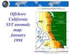 offshore california sst anomaly map january 1998