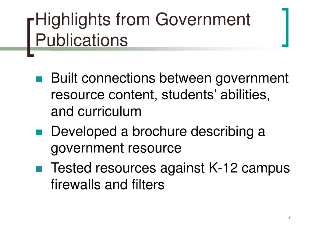 Highlights from Government Publications