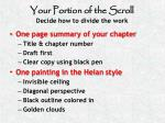 your portion of the scroll decide how to divide the work