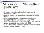 advantages of the alternate block system cont