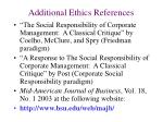 additional ethics references