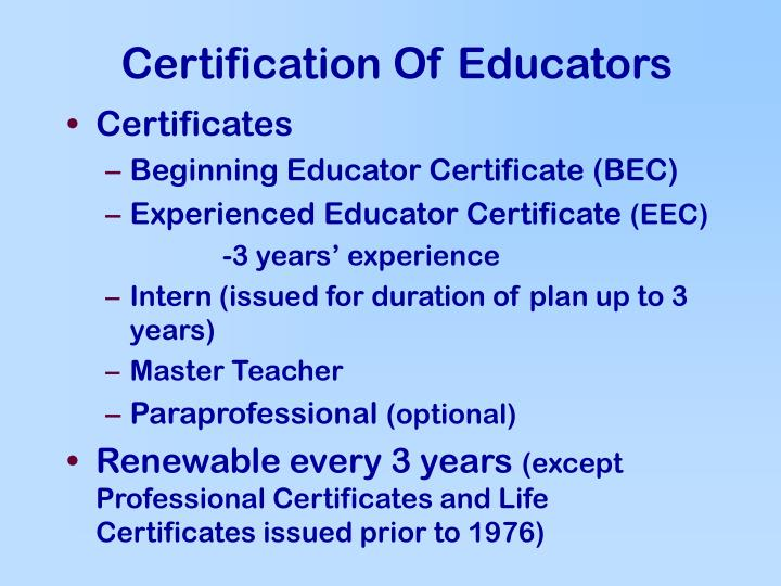 Certification Of Educators