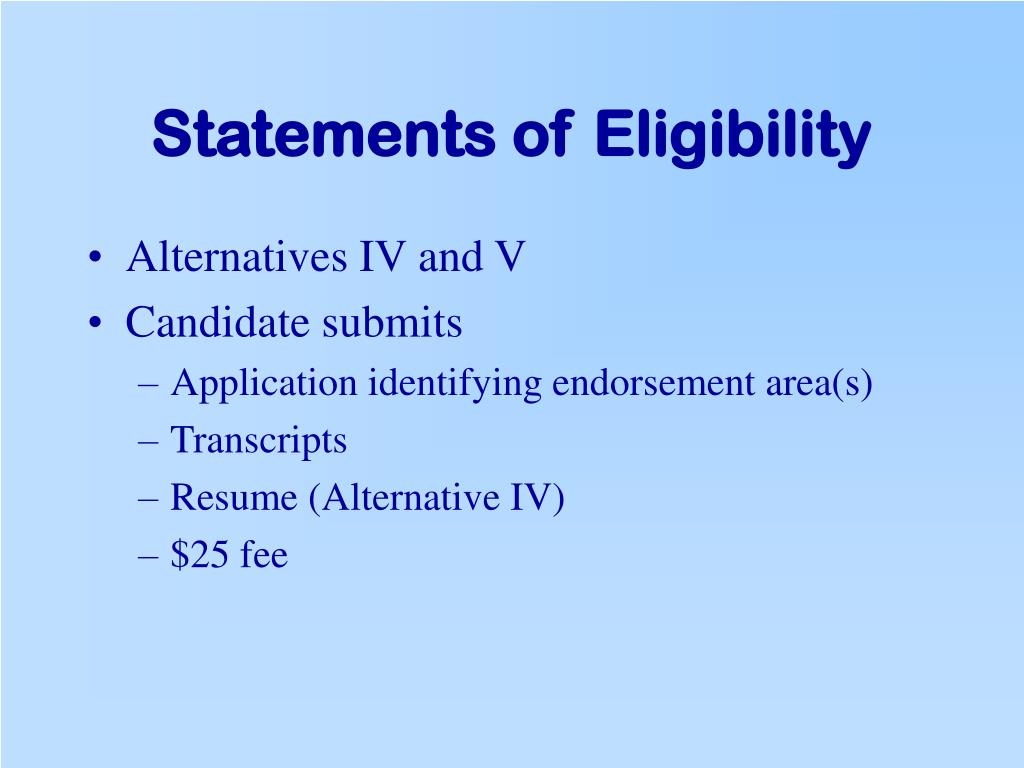 Statements of Eligibility