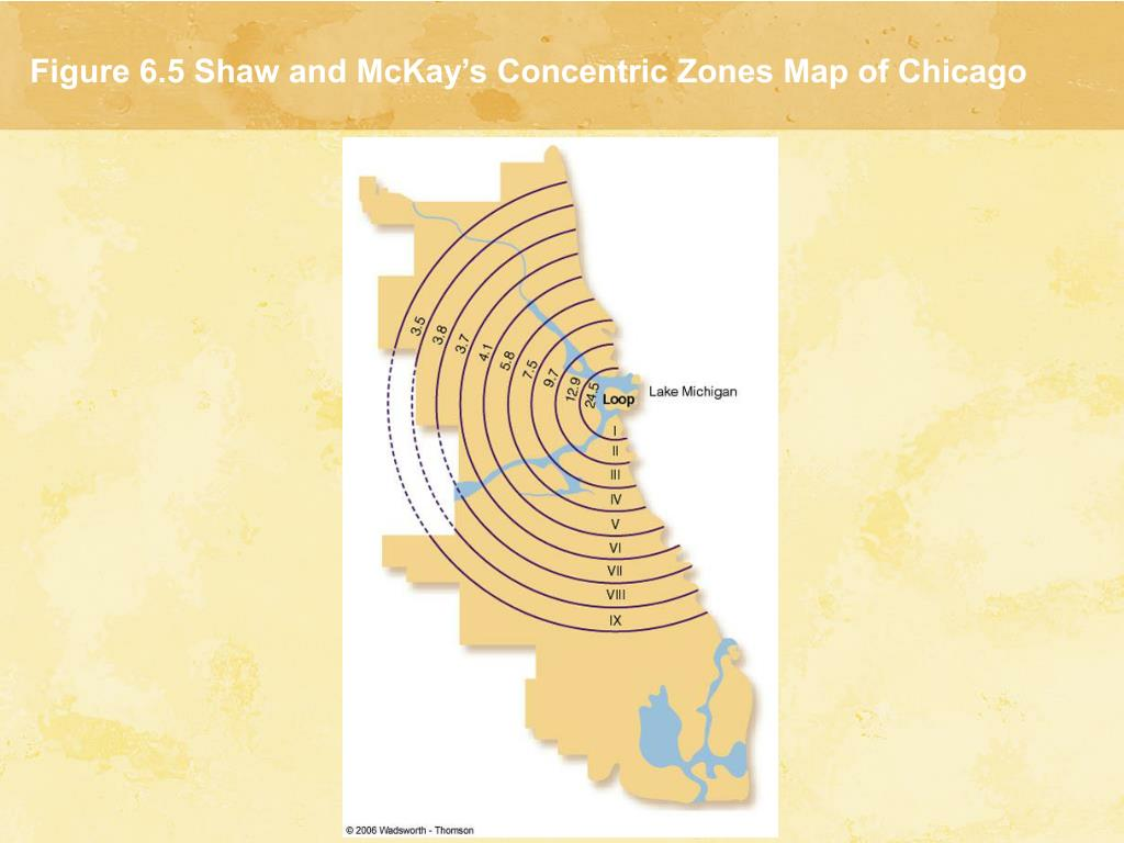 Figure 6.5 Shaw and McKay's Concentric Zones Map of Chicago