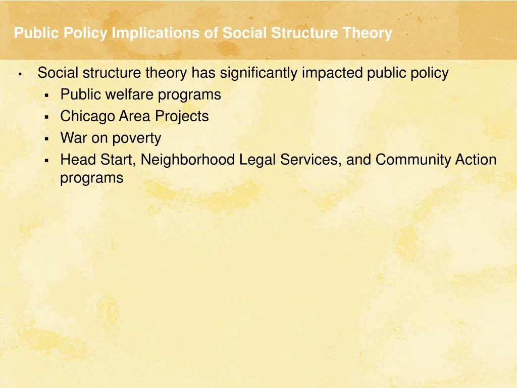 Public Policy Implications of Social Structure Theory