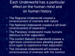 each underworld has a particular effect on the human mind and on human history