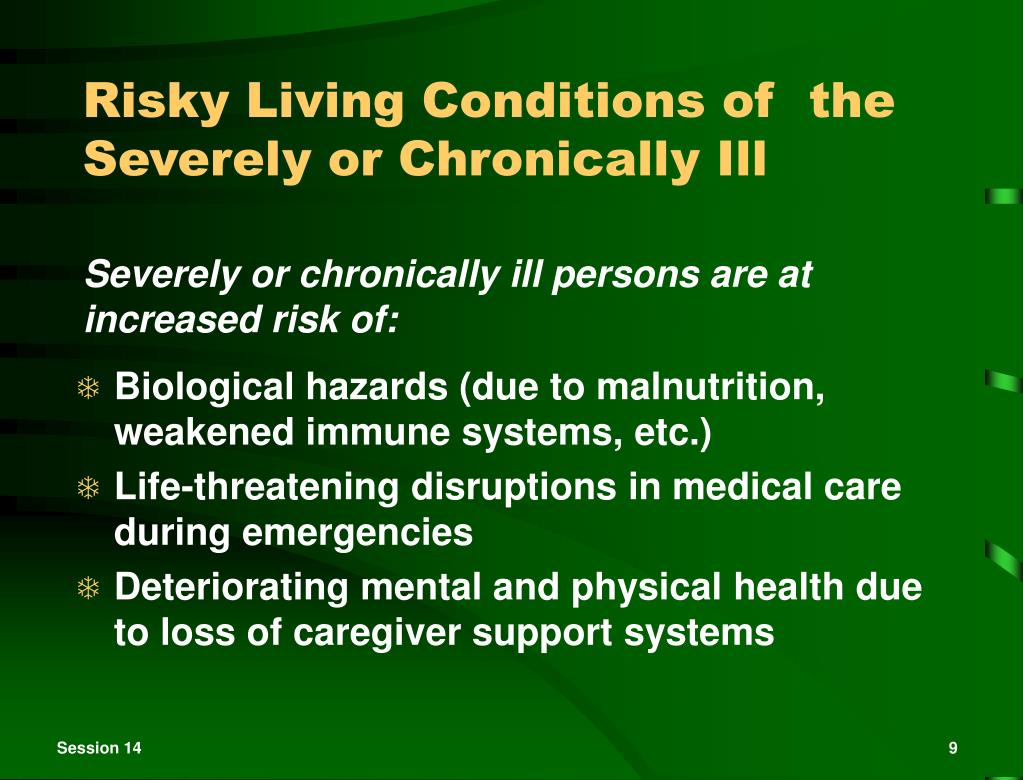 Risky Living Conditions of  the Severely or Chronically Ill
