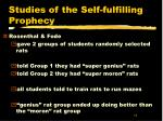 studies of the self fulfilling prophecy