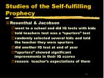 studies of the self fulfilling prophecy19