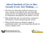 altered standards of care in mass casualty events key findings cont d