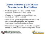 altered standards of care in mass casualty events key findings