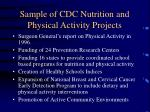 sample of cdc nutrition and physical activity projects