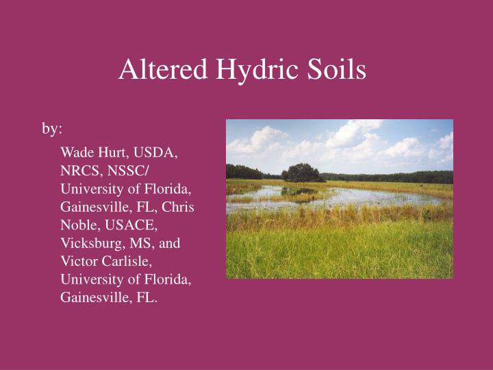 altered hydric soils n.