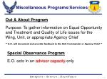 miscellaneous programs services
