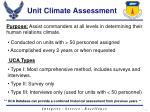 unit climate assessment