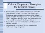 cultural congruence throughout the research process