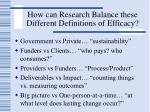 how can research balance these different definitions of efficacy