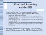 mandated reporting and the irb60