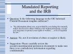 mandated reporting and the irb61
